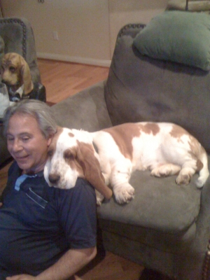 Gustoff relaxing with his buddy.